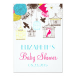 """Colorful Birdcages Spring Baby Shower Invitation 5"""" X 7"""" Invitation Card"""
