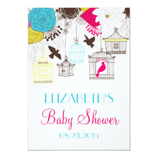 Colorful Birdcages Spring Baby Shower Invitation