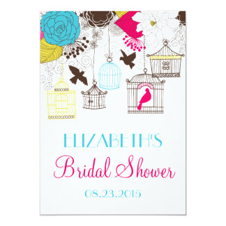 Colorful Birdcages Spring Bridal Shower Invitation