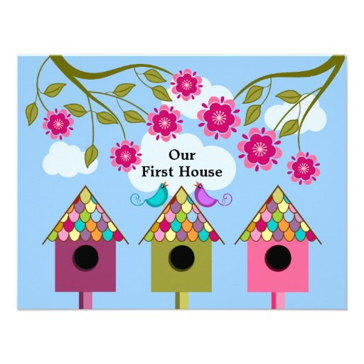 Colorful Birdhouses and Birds Housewarming Party invitation