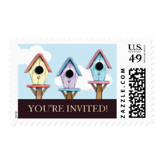 Colorful Birdhouses | Housewarming Party Postage
