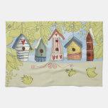 Colorful Birdhouses Kitchen Towel, Horizontal