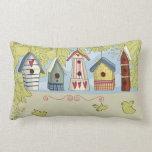 Colorful Birdhouses Lumbar or Throw Pillow