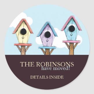 Colorful Birdhouses | New Address Announcement Classic Round Sticker