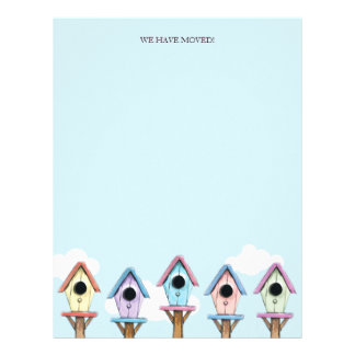 Colorful Birdhouses | We Have Moved Letterhead