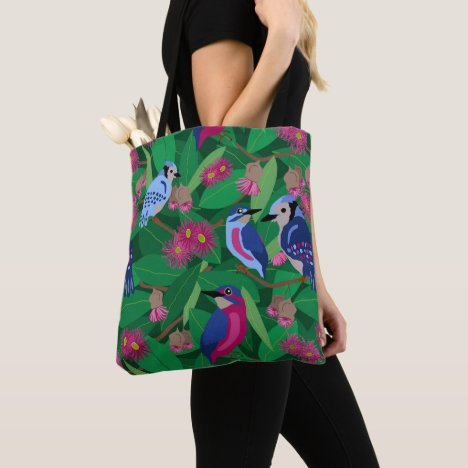 Colorful birds amongst leafy tree tote bag