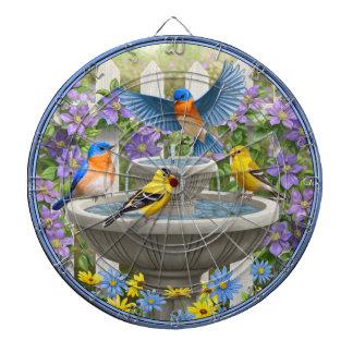 Colorful Birds and Bird Bath Flower Garden Dart Board