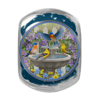 Colorful Birds and Bird Bath Flower Garden Glass Candy Jars
