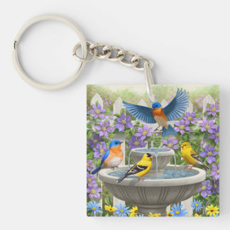Colorful Birds and Bird Bath Flower Garden Keychain