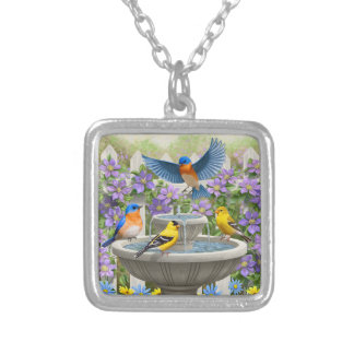 Colorful Birds and Bird Bath Flower Garden Silver Plated Necklace