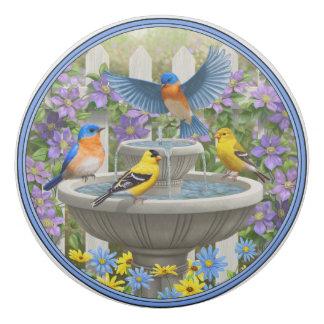 Colorful Birds and Birdbath Flower Garden Eraser