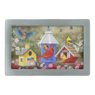 Colorful Birds and Birdhouses Belt Buckles