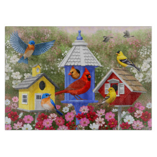 Colorful Birds and Birdhouses Cutting Board