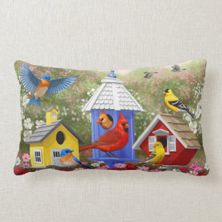 Colorful Birds and Birdhouses Lumbar Pillow