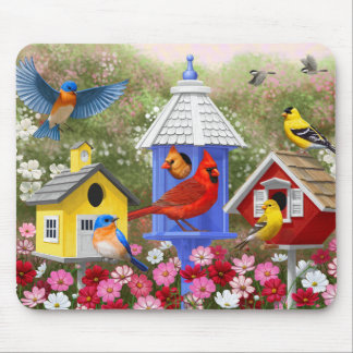 Colorful Birds and Birdhouses Mouse Pad