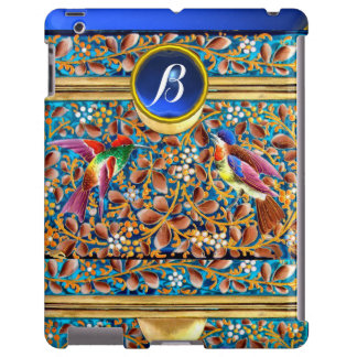 COLORFUL BIRDS AND FLORAL SWIRLS BLUE GEM MONOGRAM