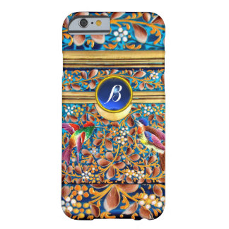 COLORFUL BIRDS AND FLORAL SWIRLS BLUE GEM MONOGRAM BARELY THERE iPhone 6 CASE