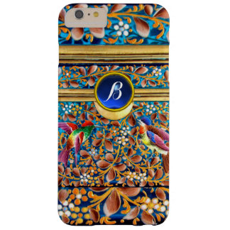 COLORFUL BIRDS AND FLORAL SWIRLS BLUE GEM MONOGRAM BARELY THERE iPhone 6 PLUS CASE
