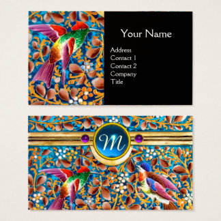 COLORFUL BIRDS AND FLORAL SWIRLS BLUE GEM MONOGRAM BUSINESS CARD