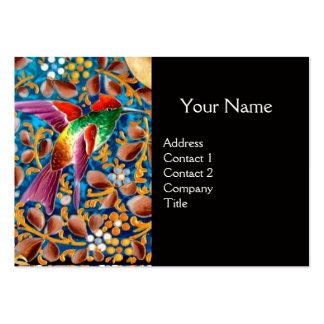 COLORFUL BIRDS AND FLORAL SWIRLS BLUE GEM MONOGRAM BUSINESS CARDS