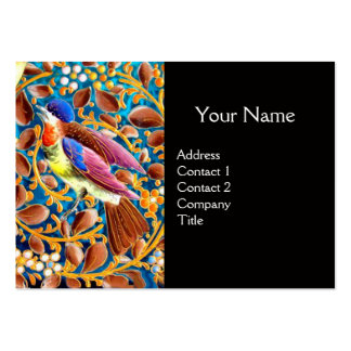 COLORFUL BIRDS AND FLORAL SWIRLS BLUE GEM MONOGRAM BUSINESS CARD TEMPLATE