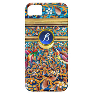 COLORFUL BIRDS AND FLORAL SWIRLS BLUE GEM MONOGRAM iPhone 5 CASE