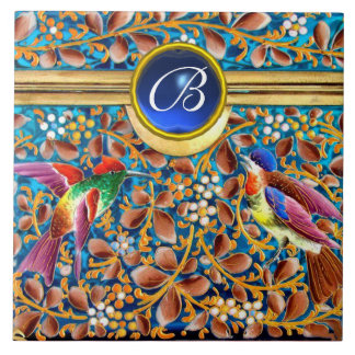 COLORFUL BIRDS AND FLORAL SWIRLS BLUE GEM MONOGRAM CERAMIC TILE