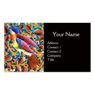 COLORFUL BIRDS AND FLORAL SWIRLS BLUE GEM MONOGRAM Double-Sided STANDARD BUSINESS CARDS (Pack OF 100)