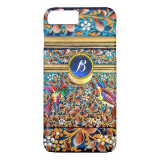 COLORFUL BIRDS AND FLORAL SWIRLS BLUE GEM MONOGRAM iPhone 8 PLUS/7 PLUS CASE