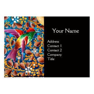 COLORFUL BIRDS AND FLORAL SWIRLS BLUE GEM MONOGRAM LARGE BUSINESS CARD