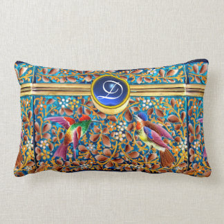 COLORFUL BIRDS AND FLORAL SWIRLS BLUE GEM MONOGRAM LUMBAR PILLOW