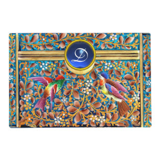 COLORFUL BIRDS AND FLORAL SWIRLS BLUE GEM MONOGRAM PLACEMAT