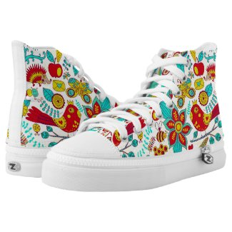 Colorful Birds And Flowers Printed Shoes