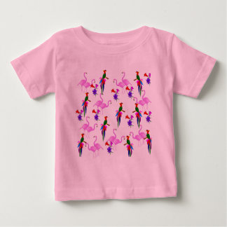 Colorful Birds and Pink Flamingos Baby T-Shirt