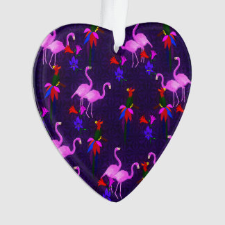 Colorful Birds and Pink Flamingos Ornament