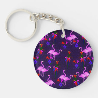 Colorful Birds and Pink Flamingos Single-Sided Round Acrylic Keychain