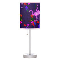 Colorful Birds and Pink Flamingos Table Lamp