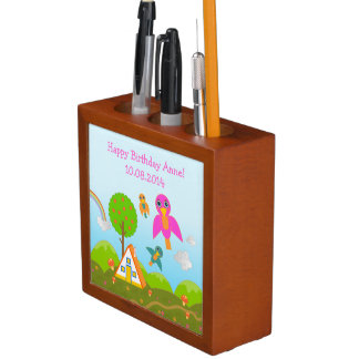 Colorful birds chirping Happy Birthday! Pencil Holder