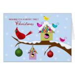 Colorful Birds Christmas Holiday Greeting Card