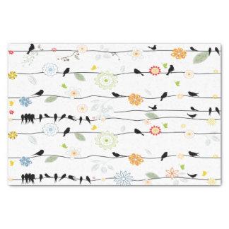 Colorful_birds en un alambre papel de seda