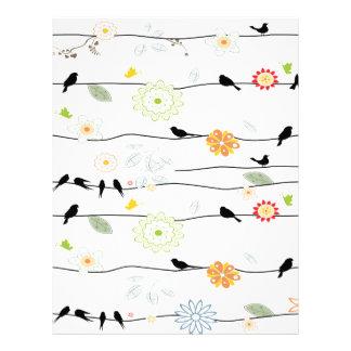 Colorful_birds en un alambre plantillas de membrete