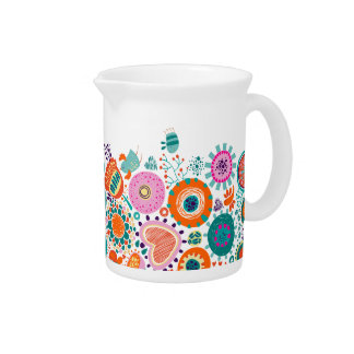 Colorful Birds & Flowers Illustration Beverage Pitcher