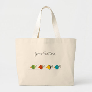 Colorful Birds Large Tote Bag