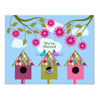 "Colorful Birds Moving Announcement 4.25"" X 5.5"" Invitation Card"