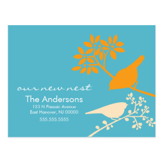 Colorful Birds Moving Announcements Postcards