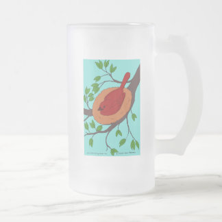 Colorful Bird's Nest Frosted Glass Beer Mug