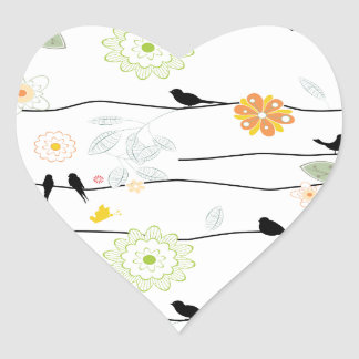 Colorful_birds on a Wire Heart Sticker