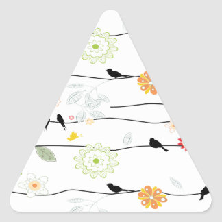 Colorful_birds on a Wire Triangle Sticker
