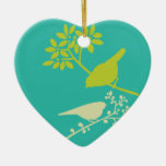 Colorful Birds Double-Sided Heart Ceramic Christmas Ornament