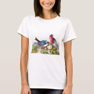 Colorful Birds, Roses & Waterspout T-Shirt